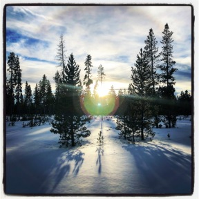 Sunset on the western edge of Yellowstone towards the end of a snowshoe trip.