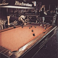 Shooting pool at Puntas Bar